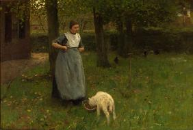 Woman from Laren with lamb