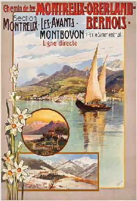Poster advertising Montreux-Oberland-Bernois train journeys