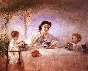 The artist's wife Sophie with their daughters Mathilda and Adele