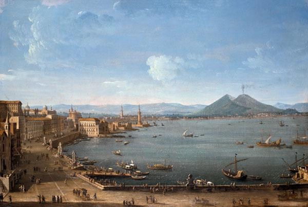 View of Naples from the Bay with Mt. Vesuvius
