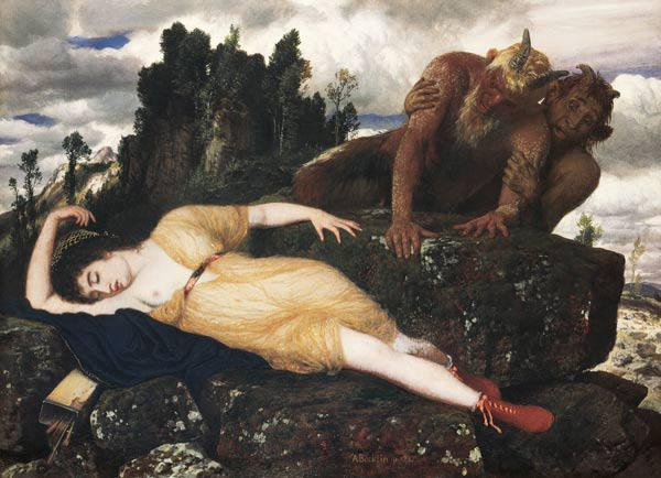 Sleeping Diana Watched by Two Fauns