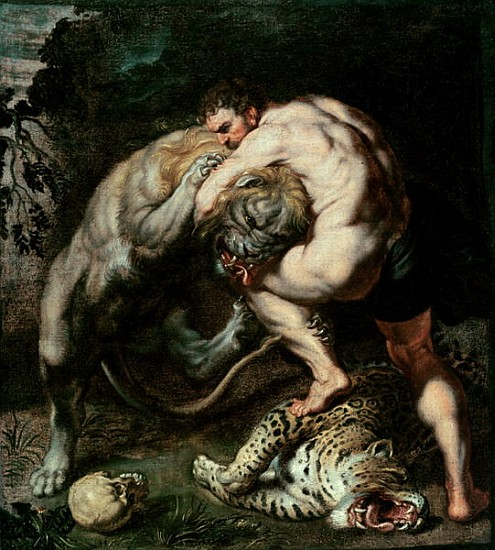 Hercules Fighting the Nemean Lion - (attr. to) Peter Paul ...