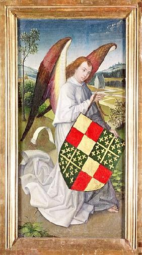 Angel holding a shield emblazoned with the heraldic arms of the de Chaugy and Montagu arms, 1460-66