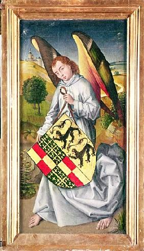 Angel holding a shield with the heraldic arms of de Chaugy and Montagu families with the two leopard