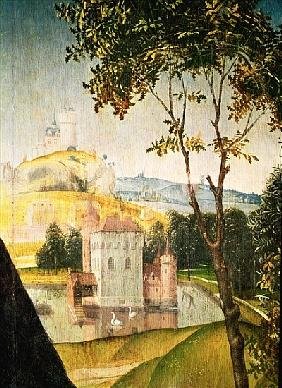Landscape with castle in a moat and two swans, 1460-66 (detail of 344036)