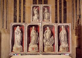 View of the panels of the closed altarpiece, depicting the Annunciation and saints, 1460-66