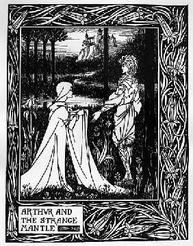 Arthur and the strange mantle, an illustration from ''Le Morte d''Arthur'' Sir Thomas Malory, 1893-9