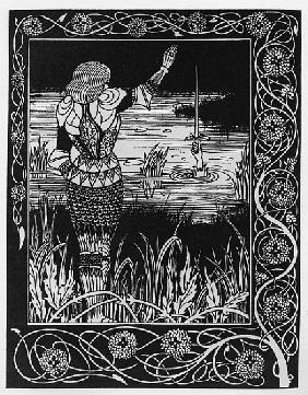 How Sir Bedivere Cast the Sword Excalibur into the Water, an illustration from ''Le Morte d''Arthur'