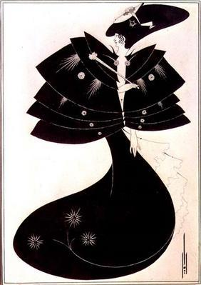 The Black Cape, illustration for the English edition of Oscar Wilde's play 'Salome', 1894 (pen and i