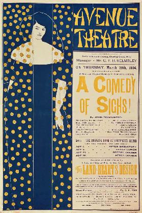 Poster advertising 'A Comedy of Sighs', a play by John Todhunter