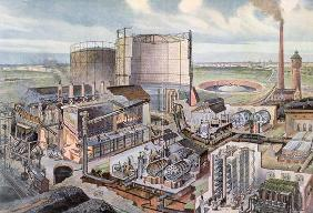 Cross section of a gas factory (colour engraving)