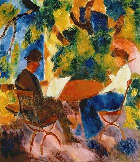 Couple à la table du jardin 1914