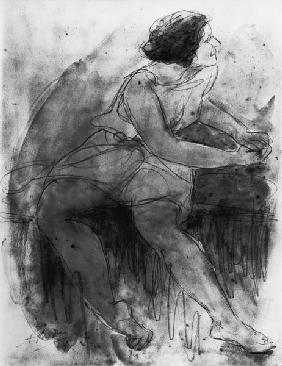 Isadora Duncan (1878-1927) (pencil & wash on paper)