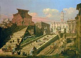 The Piazza del Campidoglio and the Church of S. Mario d'Aracoeli, Rome (oil on canvas)