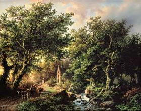 A Wooded landscape with a chapel
