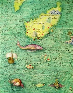 Iceland, from an Atlas of the World in 33 maps, Venice, 1st September 1553(detail from 330951)
