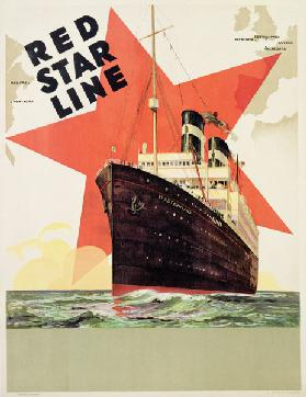 Poster advertising the Red Star Line, printed by L. Gaudio, Anvers