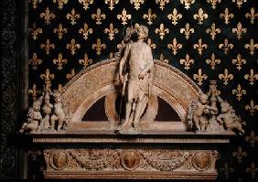 St. John the Baptist flanked by two candlesticks, from a door frame in the Sala dei Gigli