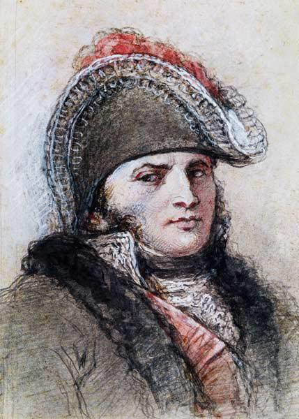 Portrait of Marshal Davout, Prince d''Echmuhl (pen & ink and wash on paper)