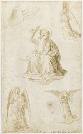 Studies of a hand, three angels and Christ as Salvator Mundi