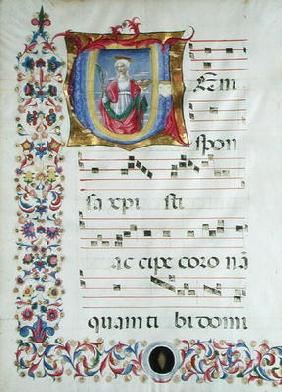 Historiated initial 'V' depicting St. Agatha (vellum)