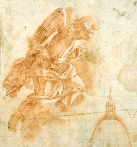 Suspended angel and architectural sketch