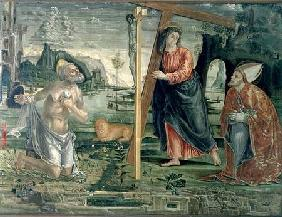 Christ carrying the Cross with St. Augustine and St. Jerome