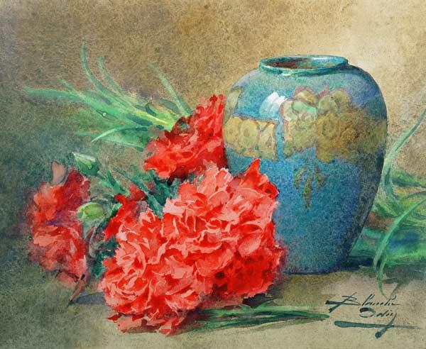 Still Life with Carnations beside a Blue Glazed Vase