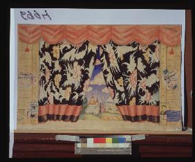 Sketch of curtain for the theatre play The flea by E. Zamyatin