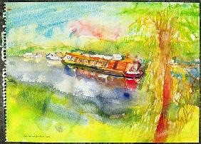 Narrow boat on the River Lea