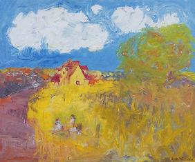 Summer Cottage, White Clouds (oil on canvas)