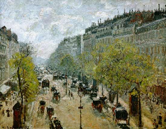Boulevard monmarte au printemps tableau de camille pissarro for Camille pissarro oeuvre