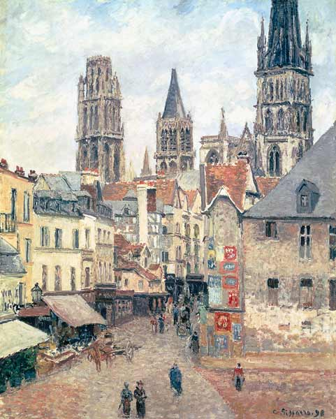 Rue de l 39 epicerie at rouen on a grey mo camille pissarro for Camille pissarro oeuvre