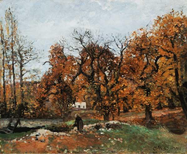 Paysage d 39 automne louveciennes tableau de camille pissarro for Camille pissarro oeuvre