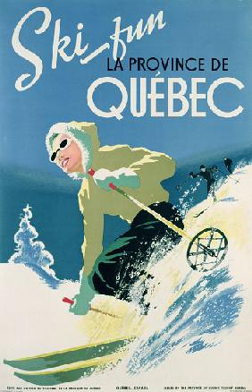 Poster advertising skiing holidays in the province of Quebec