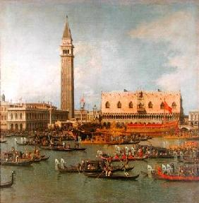 View of the Palace of St Mark, Venice, with preparations for the Doge's Wedding