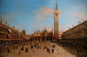 Piazza San Marco looking towards the Basilica di San Marco (oil on canvas)