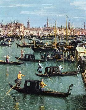 Gondoliers near the Entrance to the Grand Canal and the church of Santa Maria della Salute, Venice (