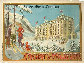 Poster advertising the hotel 'Cachat's Majestic', and winter sports at Chamonix