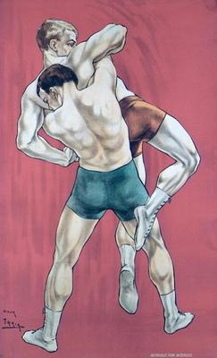 Wrestling (colour litho)