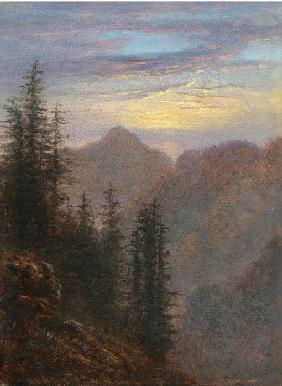 Mountain landscape at dusk
