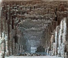 Fingals Cave , Watercolour sketch