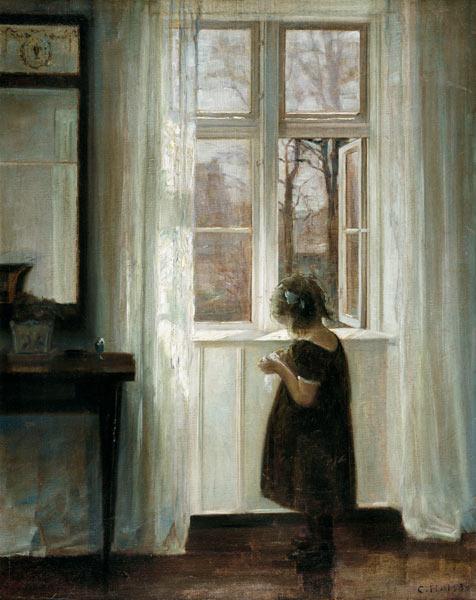 Little girl at a window carl holsoe for Fille a la fenetre