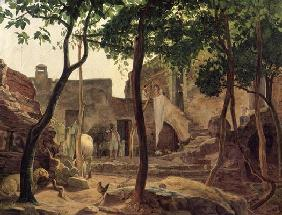 Farmyard near Sorrento, 1827 (oil on canvas)