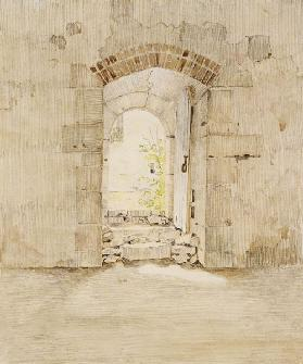 Entrance Gate to the Royal School in Meissen (pencil and w/c on paper)