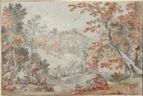 Italian Fall Landscape with Monte Porzio and an Offering to Pan