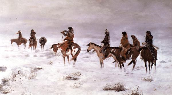 'Lost in a Snow Storm - We Are Friends' 1888 (oil on canvas)