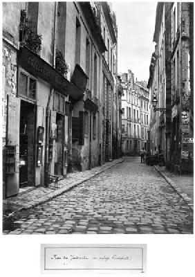 Rue du Jardinet, from passage Hautefeuille, Paris, 1858-78 (b/w photo)