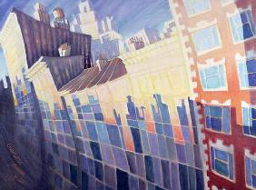 Sunset, Waverly Place, New York City, 1995 (oil on canvas)