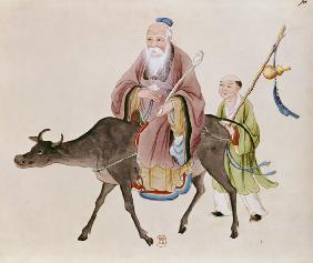 Lao-Tzu (c.604-531) on his buffalo, followed by a disciple  on